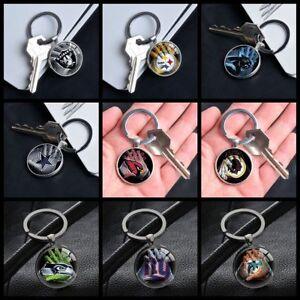 NFL-Football-Team-Logo-Gloves-Key-Pendants-Glass-Keychains-Gifts-Silver-Keyring