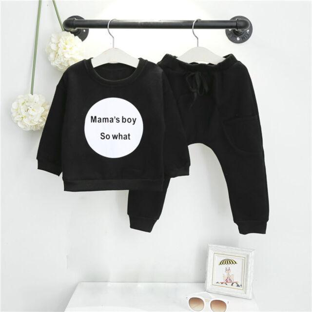 6a47d0b2d930 2pcs Toddler Kids Baby Girl Boy Outfits T-shirt Tops Long Pants Set ...