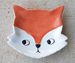Ceramic White Fox Loves Bright Sun Dish Animal Mini Art Leaf Trinket Tray Fun Art Baby Fox Jewelry Tray
