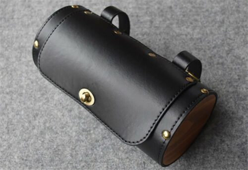 Vintage Wood Leather Bike Saddle Tail Bag Pannier Cycling Pouch Bicycle Seat Bag