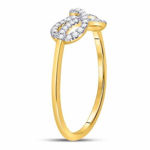 10kt Yellow Gold Womens Round Diamond Infinity Fashion Ring 1//6 Cttw