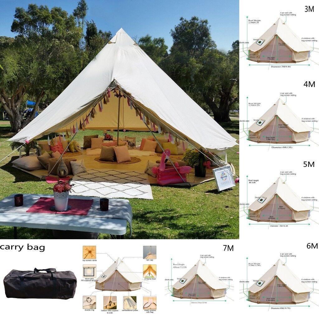 Bell Tent 3M 4M 5M 6M 7M Safari Yurt Waterproof Canvas Glamping campeggio all'apertos