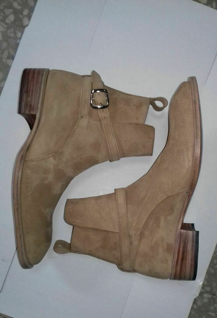 Mens Handmade Boots Beige Suede Leather Jodhpurs Ankle Formal Wear Casual shoes