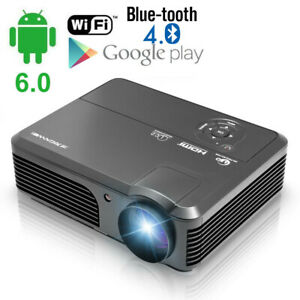 LED-HD-1080P-Android6-0-Projektor-Video-Beamer-WIFI-Heimkino-HDMI-USB-Blue-tooth