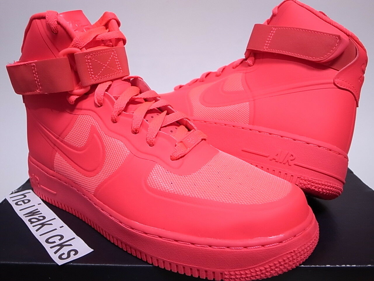 2011 NIKE AIR FORCE 1 HI HYP PRM SOLAR RED SOLAR RED 454433-600 size 8.5