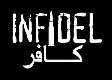 "INFIDEL .556 AR15 M4 BULLET Vinyl Decal Graphics Sticker **WHITE** 4.75"" w x 3"""
