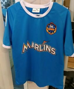 new style fb155 263cc Details about Miami Marlins Shirt - Marlins BC Promotional Jersey - Men's L  Large - Blue