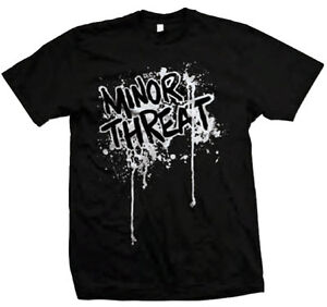 MINOR-THREAT-T-Shirt-Drip-Logo-Black-New-Authentic-S-XL