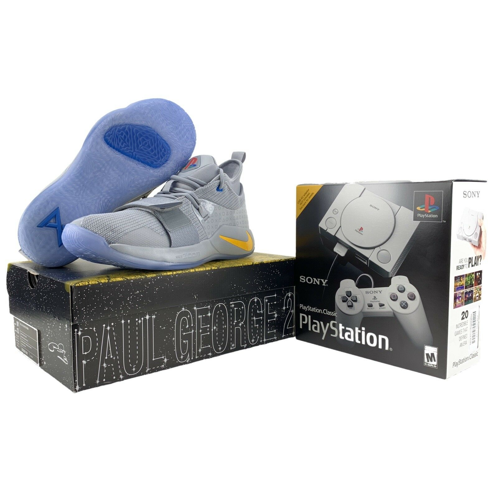 Nike PlayStation shoes PG 2.5 Mens 10.5 + PS1 Classic Console Bundle Wolf Grey