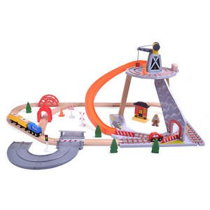 Details About 55pcs Mine Crane Quarry Wooden Train Car Track Railway Set Toy Brio Compatible