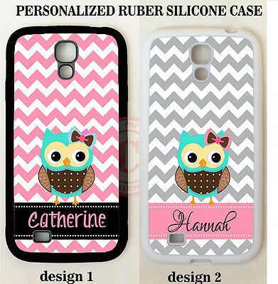 PERSONALIZED GREY PINK CHEVRON TEAL OWL MONOGRAM Case For Samsung Galaxy S7 S6 5