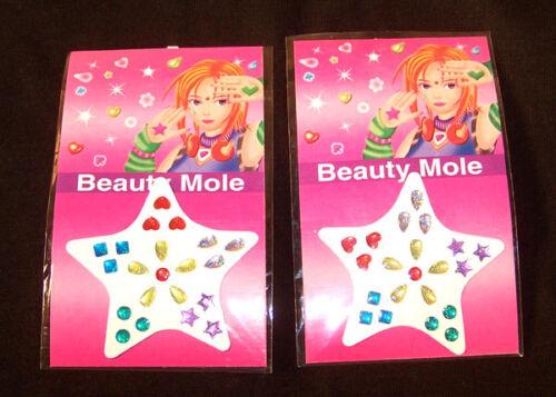 2 CARDS STICK ON BODY JEWELS jewelry stickers jewel stickon jewel sticker face