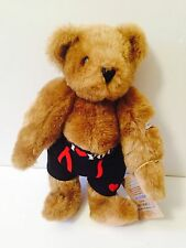 "Vermont Teddy Bear 16"" Brown Jointed Bear I Love You Black Underwear Valentines"