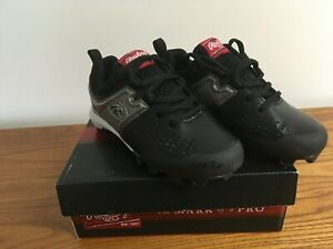 19f3fdc9f241e Details about Rawlings Clubhouse Black Silver Boys Baseball Shoes Boys Size  13
