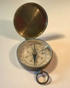 WWI-Era-German-Hinged-Brass-Hunter-s-Case-Compass-Excellent-Condition