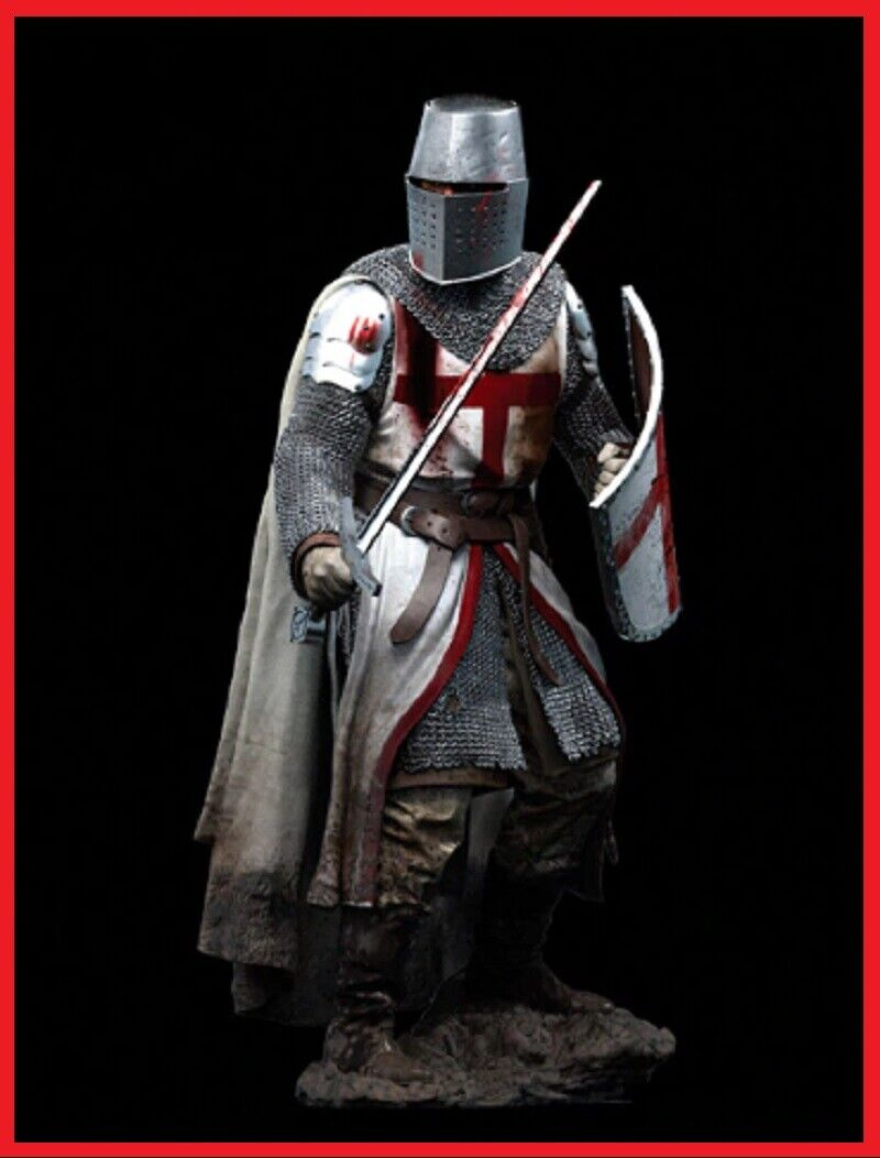 1 18 90MM Templar Knight, XII Century soldier Miniature Unpainted