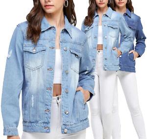 Women's Premium Casual Faded Distressed Denim Jean Button Up Cotton Jacket