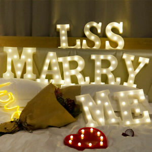 LED Light Up White Mood Alphabet A-Z Letters Lights Standing Hanging Party Decor