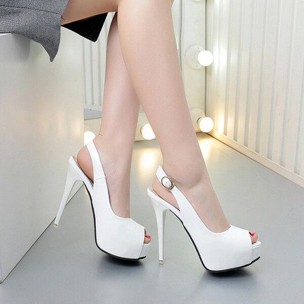 Sandale stiletto decolte 12 cm bianco plateau simil pelle eleganti 9944