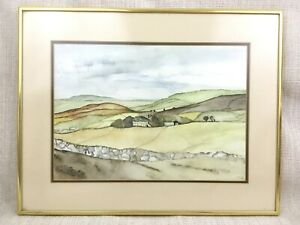 Original-Watercolour-Rural-Landscape-Painting-Signed-Framed-South-African-Artist