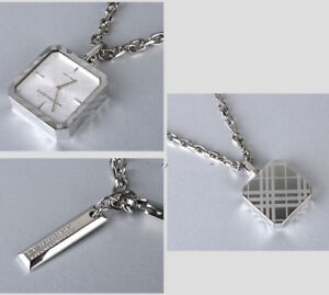 NEW BURBERRY ENGRAVED PLAID CHECKED SIGNATURE SILVER NECKLACE WATCH BU5270