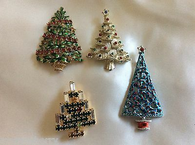 GOLD & SILVER TONE METAL ENAMEL CRYSTAL CHRISTMAS TREE PIN BROOCH LOT OF 4