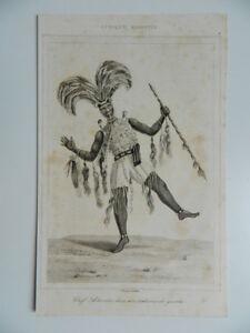 Gravur Afrika Ashanti Häuptling IN Seinem Kostüm War Lemaitre C.1850