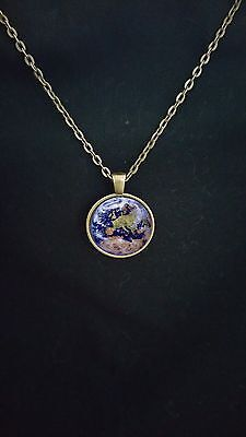 Planet Earth From Outer Space Pendant Over Europe  Science Jewellery Planet Gift