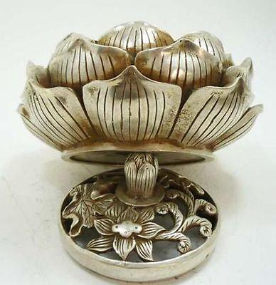 collectable! White copper statue lotus flower incense burner /Censer
