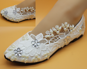 5a0a4a21842 Details about white flats ivory lace crystal pearls Wedding shoes pumps  bride size