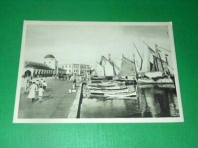 Cartolina Rodi - Il Mercato e la Banca d' Italia 1940 ca