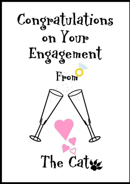 Novelty Congratulations on your Engagement Card from The Cat - 1C - Own Design
