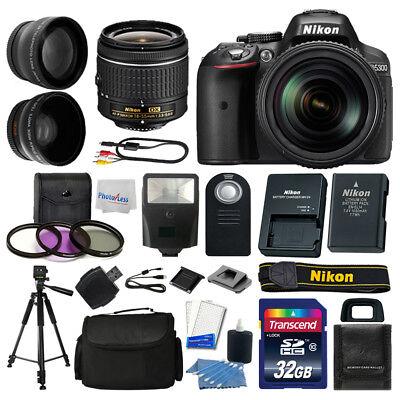 Nikon D5300 Digital SLR Camera Body 3 Lens Kit 18-55mm Lens + 32GB Top Value