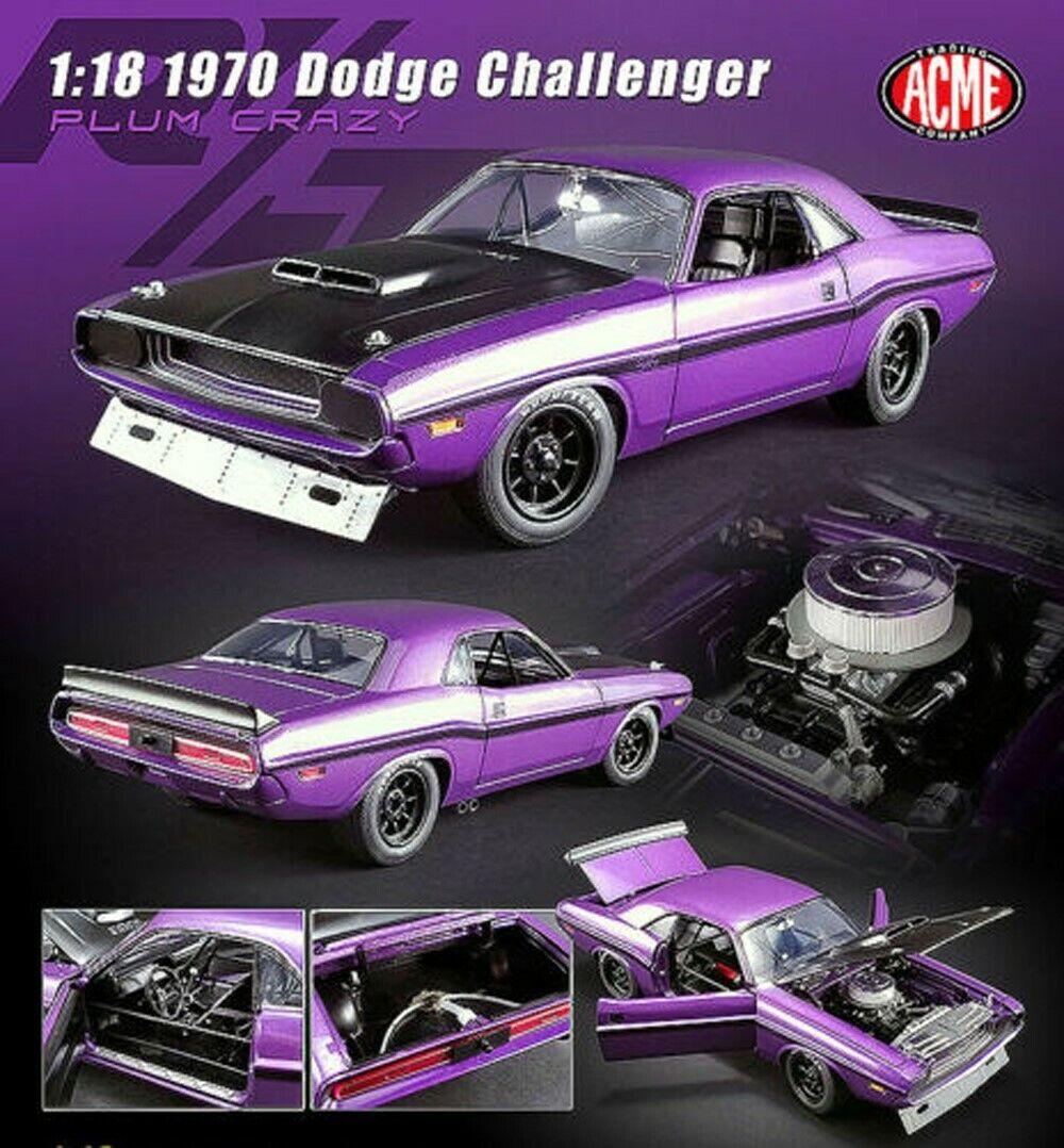 descuento online Acme 1 1 1 18 1970 Dodge Challenger Trans Am Street Version A1806010 Morado Diecast  Ahorre hasta un 70% de descuento.