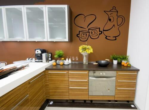 Mural café tasses et Cafetière avec coeur #k044
