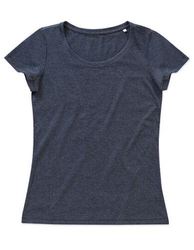 Damen Melange T-Shirt Rundhals Ausschnitt Meliert