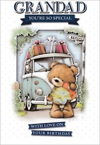 Grandad You're So Special With Love On Your Birthday Card, Cute Bear & Campervan