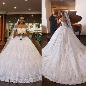White Lace Applique Princess Wedding Dresses Off Shoulder Bridal