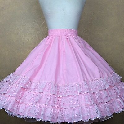 Square Dance Skirt Pink with Pink Lace Trim