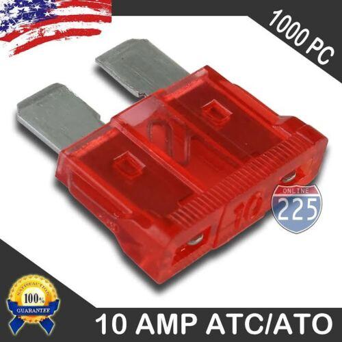 1000 Pack 10 AMP ATC//ATO STANDARD Regular FUSE BLADE 10A CAR TRUCK BOAT MARINE