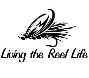 funny fishing sticker vinyl decal fly trout fish rod reel jigs boat car truck