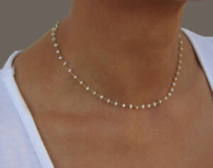 Pearl-Necklace-Pearl-Rosary-Chain-Necklace-Gold-Filled-Wedding-Necklace
