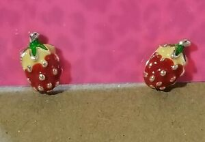 New-Betsey-Johnson-Pink-Enamel-Lady-3D-Mini-Strawberry-Wonmen-Earrings-Gift