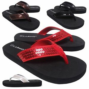 """NEW Womens Sequin Thong 1"""" Low Heel Flip Flop Sandal Shoe 4 Colors Size 6 to 11"""