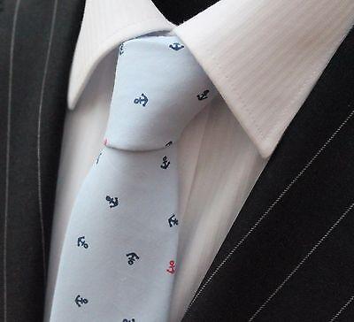 Tie Cravatta Sottile Blu Chiaro Con Piccole Qualità Ancoraggio Cotone T6156-mostra Il Titolo Originale Sapore Puro E Delicato