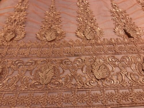 """Orange Peach Border embroidery Lace Fabric 50"""" Width Sold By The Yard"""