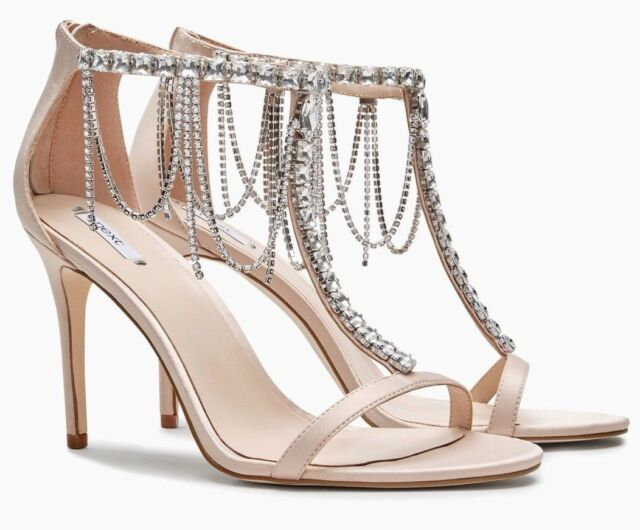 258734067 NEXT Women s Blush Pink Embellished Satin Sandals - size UK 7   EU 41 - rrp