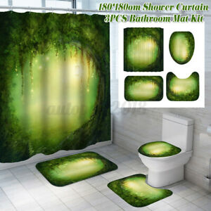 Waterproof-Polyester-Fabric-Bathroom-Shower-Curtain-Sheer-Panel-Decor-12-Hooks