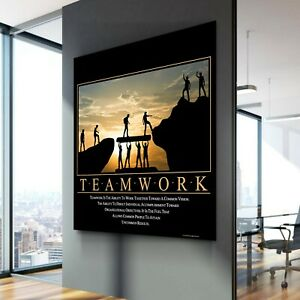 Office Home Wall Art Decor Gift Print POSTER CANVAS TEAMWORK Motivation Quote