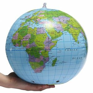 INFLATABLE BLOW UP GLOBE ATLAS WORLD MAP EARTH BEACH BALL GEOGRAPHY 40CM X99017